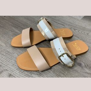 Victor Italian Leather Colorblock Neutral Sandals